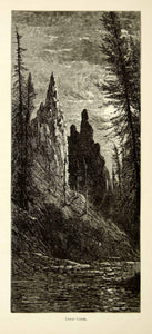 1872 Wood Engraving Tower Creek Yellowstone National Park Moonlight Harry PA2