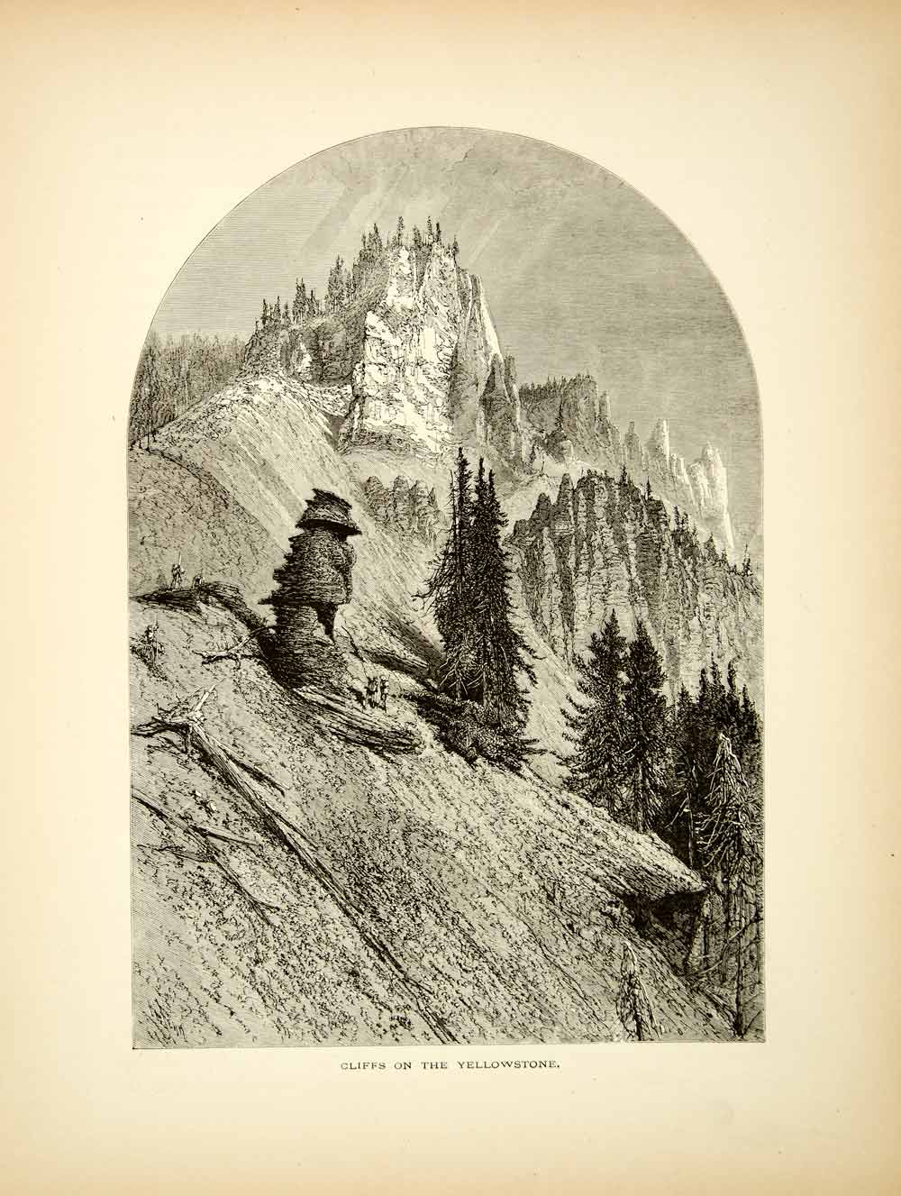 1872 Wood Engraving Yellowstone River Cliffs National Park Wyoming Harry PA2