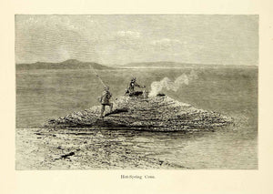 1872 Wood Engraving Yellowstone Hot Spring Cone Fishermen Cooking Fish PA2