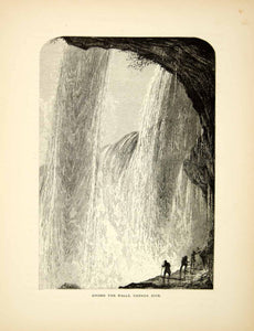 1872 Wood Engraving Behind Canadian Horseshoe Falls Niagara Waterfall Harry PA2