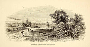 1872 Wood Engraving Detroit River Ship Fort Wayne Michigan John Douglas PA2
