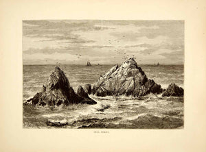 1872 Wood Engraving Seal Rocks San Francisco Pacific Ocean Robert Swain PA2