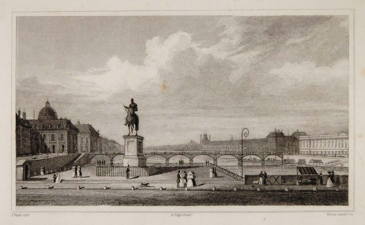 1831 Pont des Arts River Seine Paris Steel Engraving - ORIGINAL PARIS2