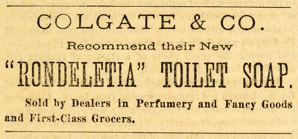 1871 Ad Colgate Rondeletia Toilet Soap Health Beauty Product Skin Care PEM1