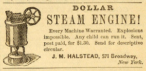 1871 Ad Dollar Steam Engine J M Halstead 571 Broadway New York No PEM1