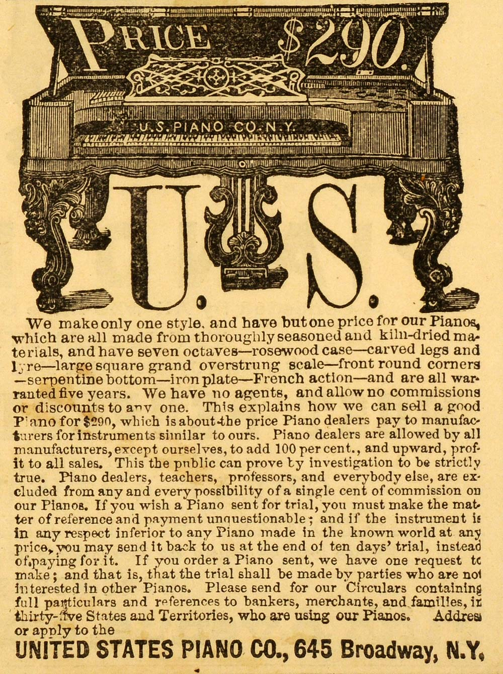 1871 Ad United States Piano 645 Broadway New York City Musical Instruments PEM1