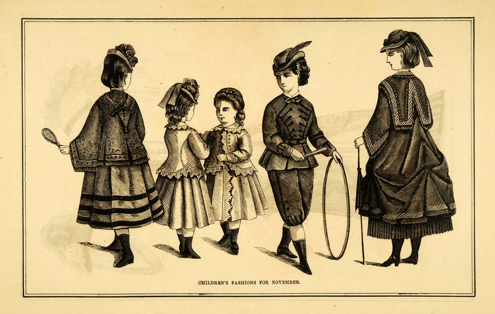1871 Print Children Victorian Fashion Boy Girl Dress Suit Hats Bustle Hoop PEM1