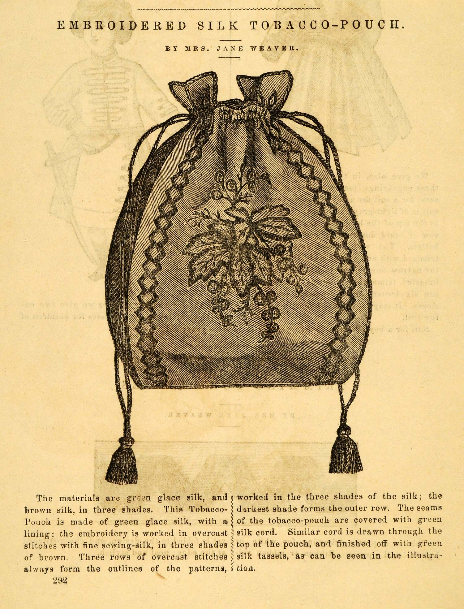 1871 Article Embroidered Silk Tobacco Pouch Jane Weaver Detailed PEM1