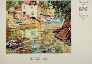 1926 The White Mill Stream Dam Crown Print Alf Cooke - ORIGINAL