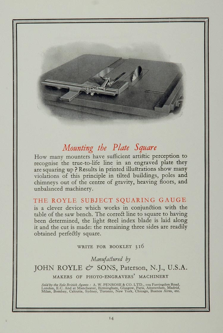 1926 Ad Royle Subject Squaring Gauge Paterson NJ - ORIGINAL ADVERTISING