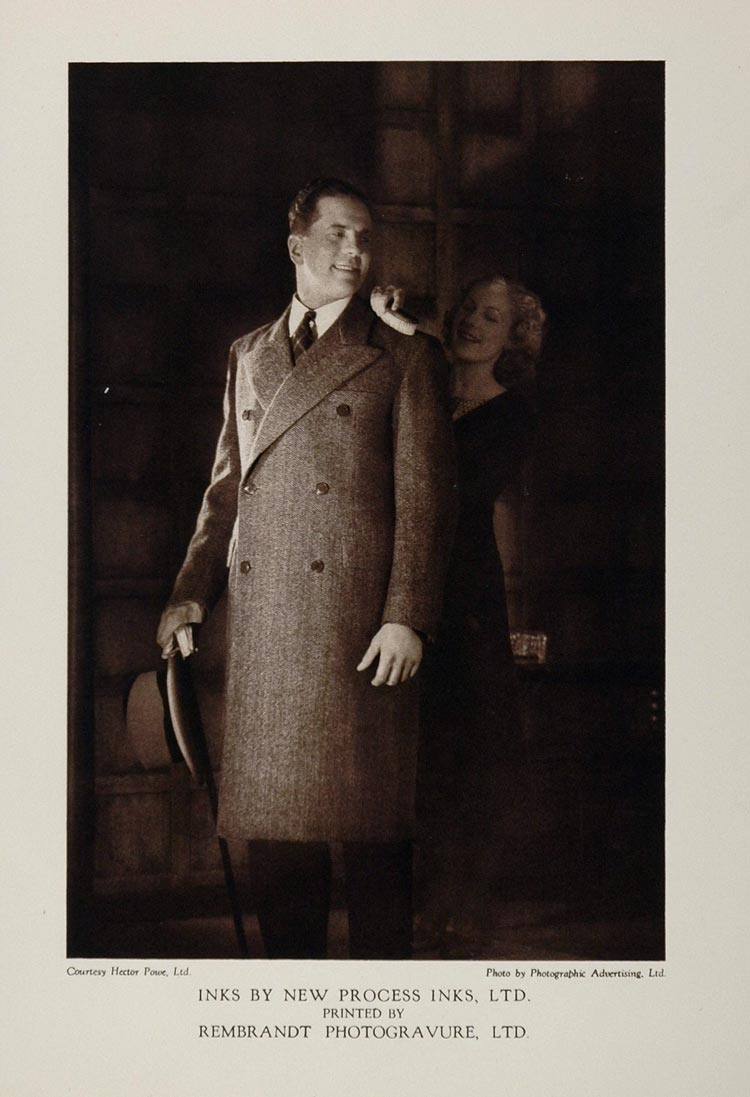1933 Print Man Woman Overcoat Fashion Style Hector Powe - ORIGINAL PHOTOGRAVURE