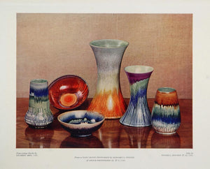 1934 Ceramic Vase Bowl Margaret E. Chilton Color Print - ORIGINAL