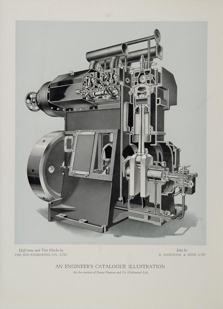 1934 Machinery Illustration Machine Davey Paxman Print - ORIGINAL
