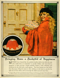 1923 Ad Happiness Basket Strawberry Jello Mould Genesee Pure Food Norman PHJ1