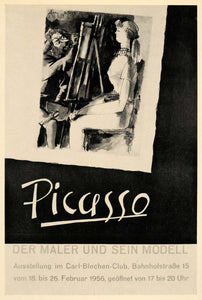 1971 Print Picasso Painter Model Easel Art Poster 1956 - ORIGINAL PIC3