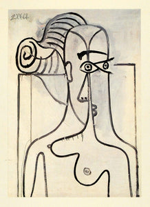 1964 Print Pablo Picasso Black White Nude Woman Breasts - ORIGINAL