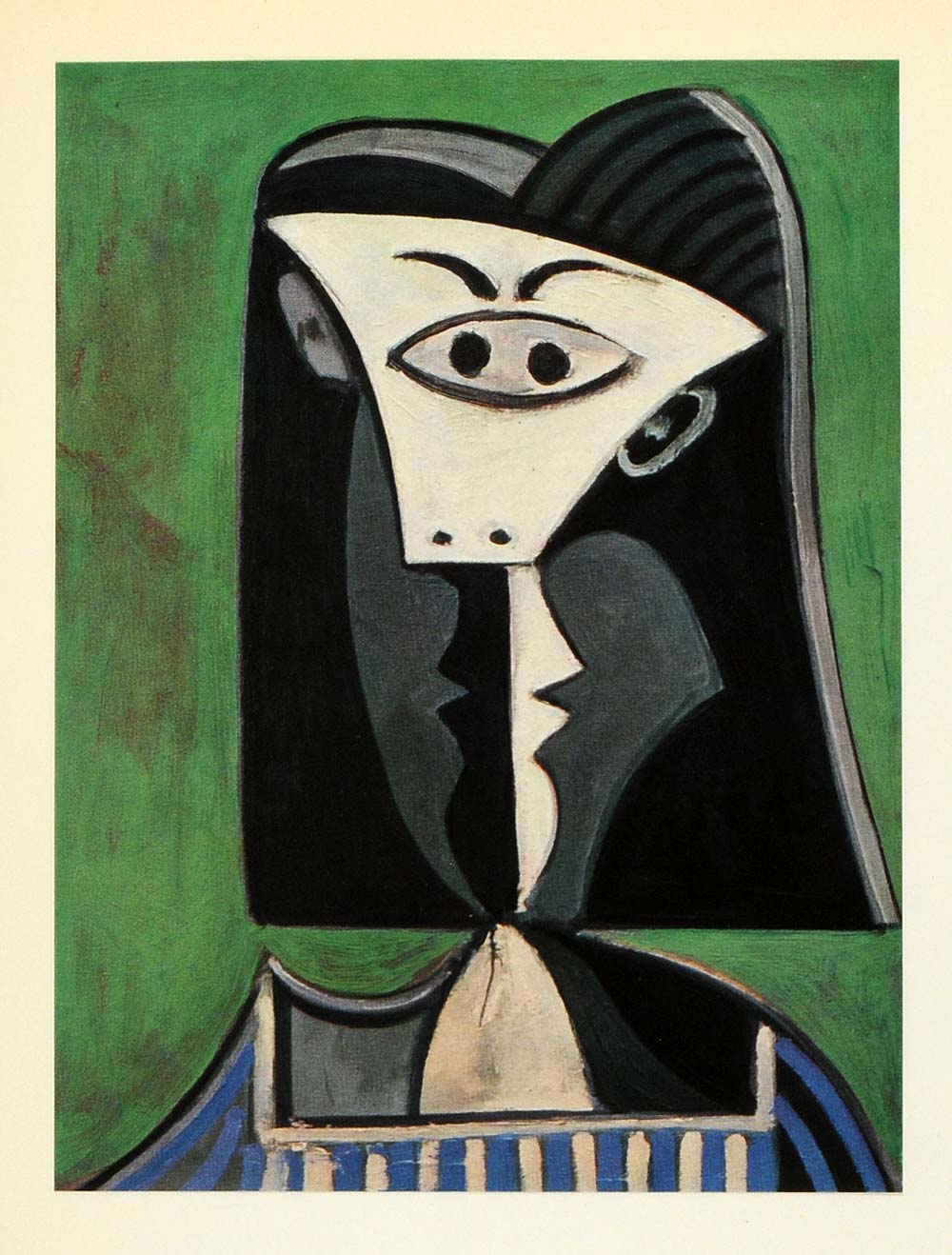 1964 Print Pablo Picasso Green Blue Distorted Woman - ORIGINAL