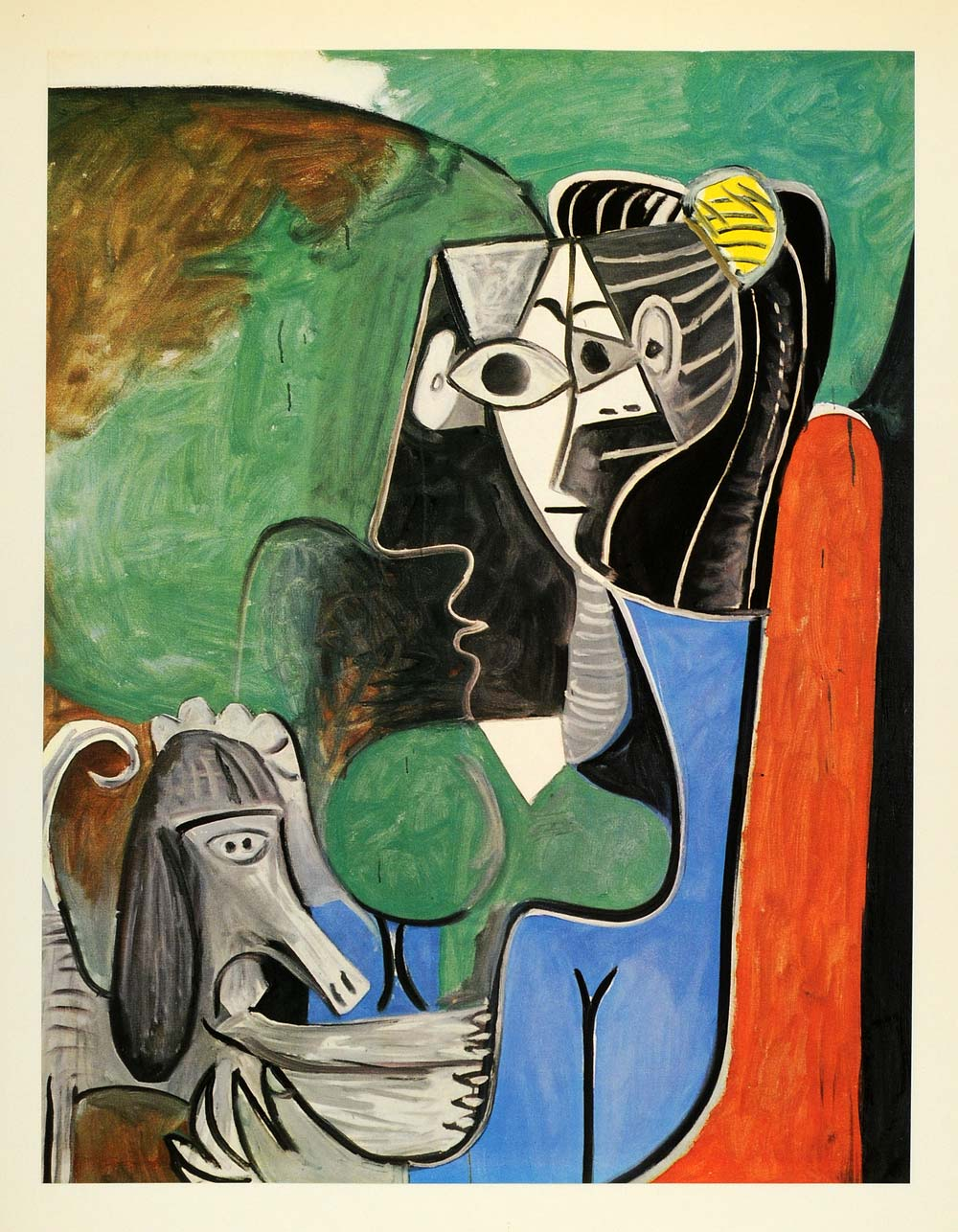 1964 Print Pablo Picasso Seated Woman Gray Dog Portrait - ORIGINAL