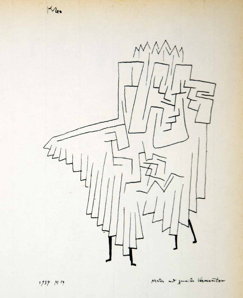 1958 Print Paul Klee First Second Masked Figure Abstract Line Drawing Art PL1