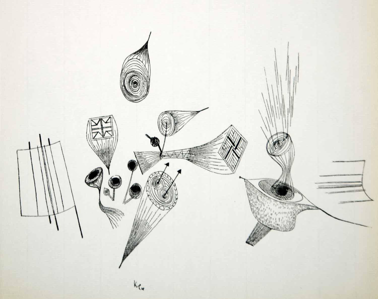 1958 Print Paul Klee Temperaments Abstract Expressionism Line Drawing Art Pl1