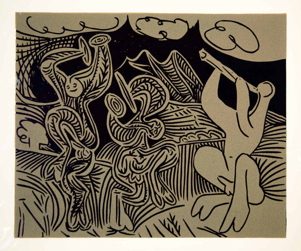 8c255c4f67e 1963 Lithograph Picasso Dancing Satyrs Flute Player Cymbals Music Linocut  Art