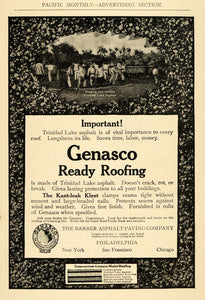 1910 Ad Genasco Ready Roofing Trinidad Lake Asphalt - ORIGINAL ADVERTISING PM2