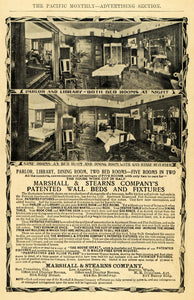 1907 Ad Marshall Stearns Wall Beds Pitwick Apartments - ORIGINAL ADVERTISING PM2