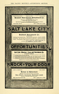 1906 Ad Salt Lake City Realtors Insurance Bank Mortgage - ORIGINAL PM2