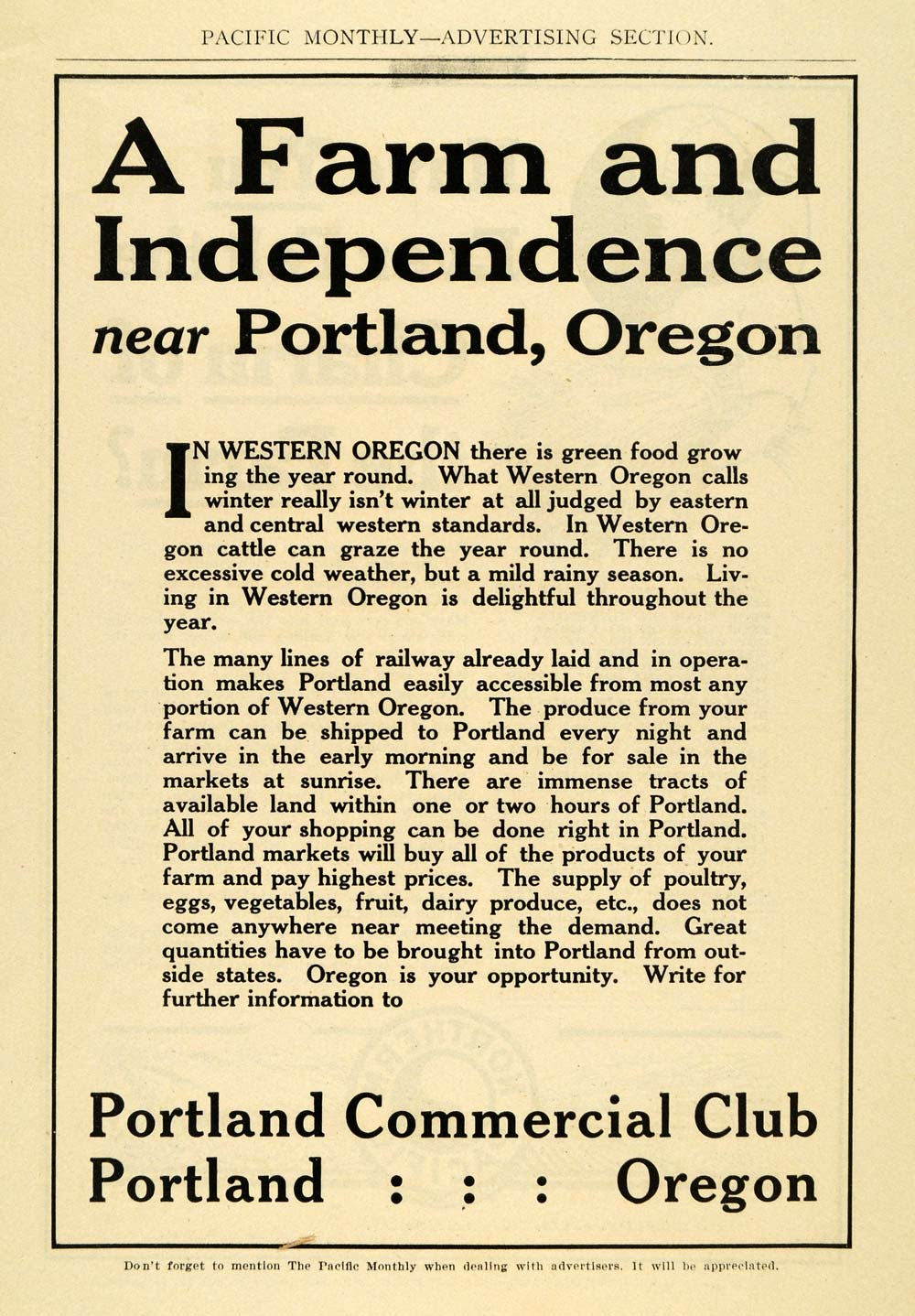 1911 Ad Portland Commercial Club Oregon Agricultural - ORIGINAL ADVERTISING PM2