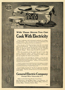 1911 Ad General Electric Cooking Hot Plate Disk Stove - ORIGINAL ADVERTISING PM2