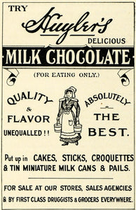 1904 Ad Huyler's Milk Chocolate Candy Sweets Grocers - ORIGINAL ADVERTISING PM2