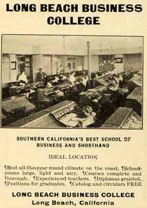 1906 Ad Long Beach Business College University School - ORIGINAL ADVERTISING PM2