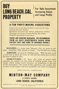 1907 Ad Minton-May Co. Long Beach California Properties - ORIGINAL PM2