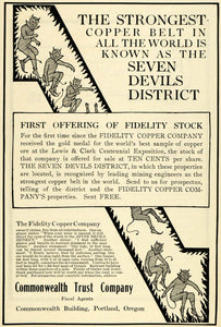 1907 Seven Devils District Fidelity Copper Co. Stocks - ORIGINAL ADVERTISING PM2