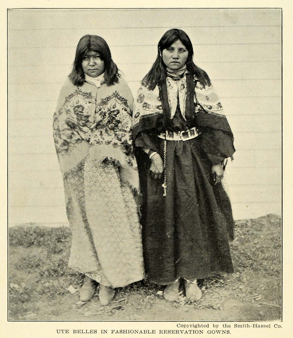 1906 Print Ute Belle Reservation Native American Dress ORIGINAL HISTORIC PM2