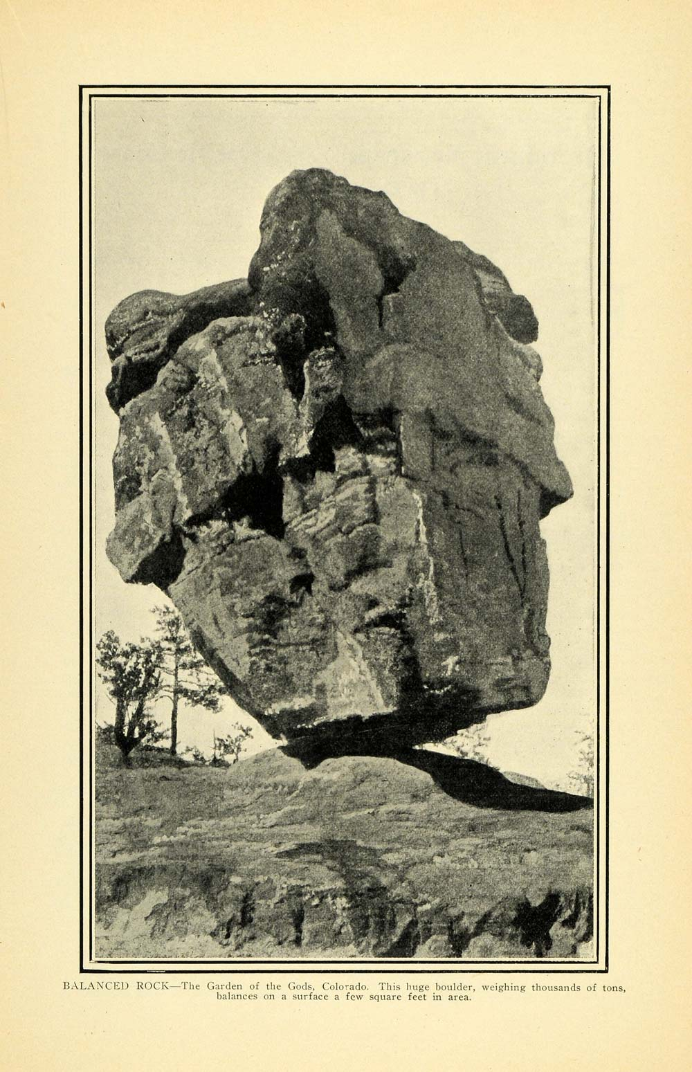 1903 Print Balanced Rock Garden Gods Colorado Original Historic Image Pm2