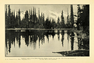 1903 Print Mirror Lake Selkirk Mount British Columbia ORIGINAL HISTORIC PM2