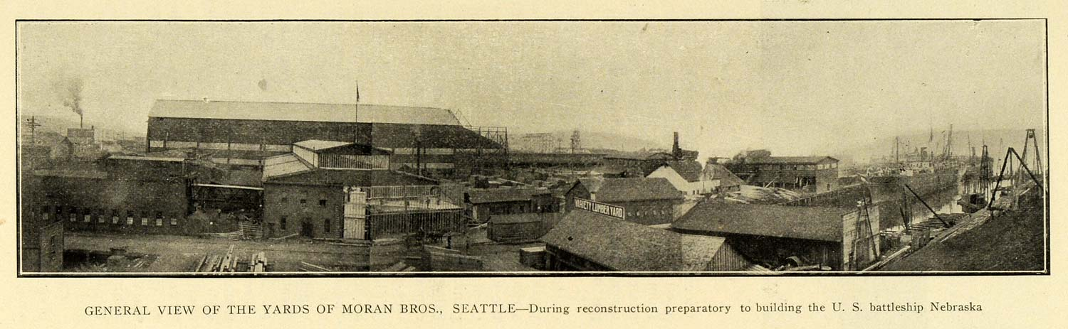 1903 Print Shipyard Moran Brothers Seattle Nebraska - ORIGINAL HISTORIC PM2