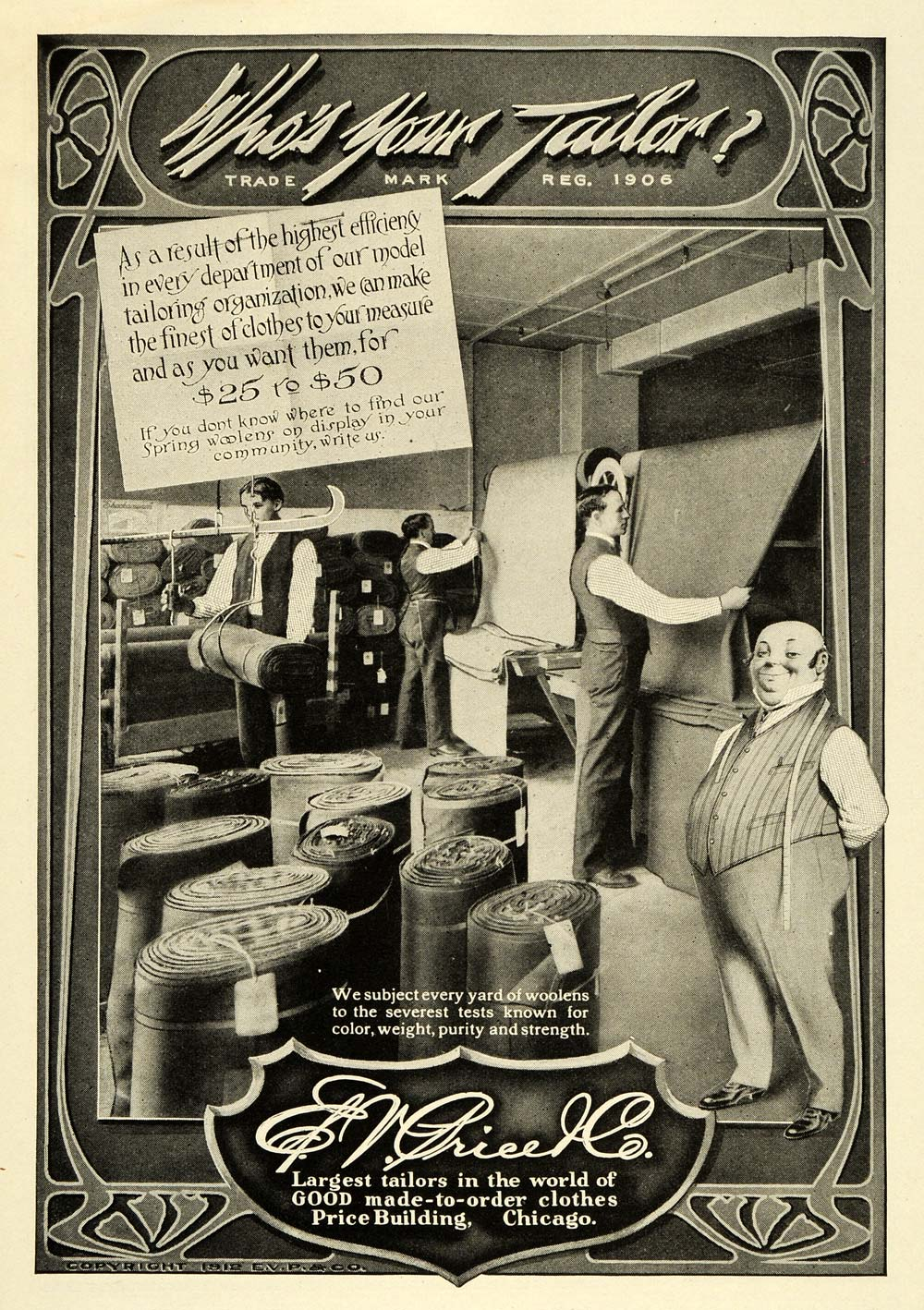 1912 Ad E  V  Price Clothing Tailors Tailoring Chicago Pricing Woolens PM3