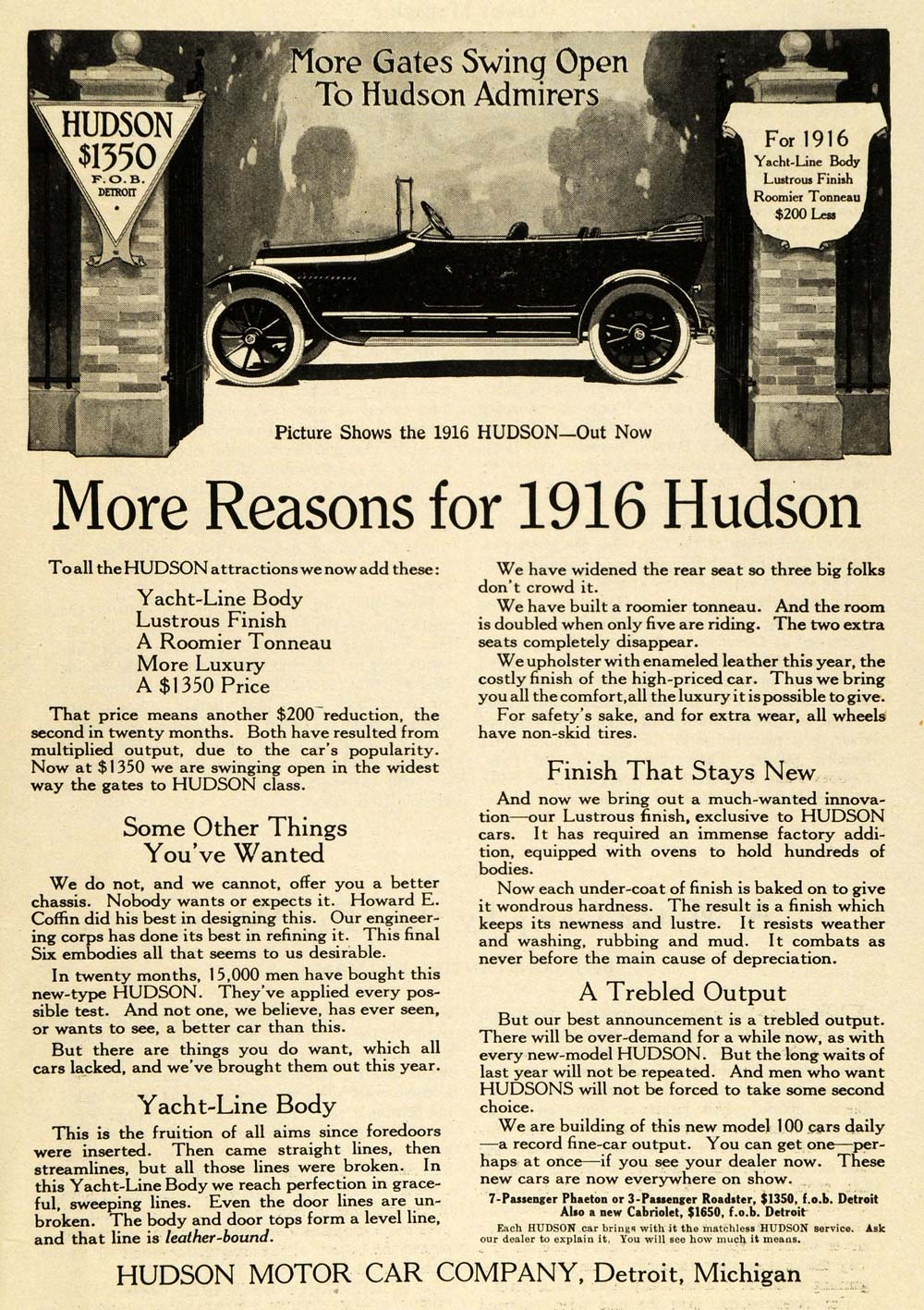 1915 Ad 1916 Hudson Antique Automobile Tonneau Specifications Yacht Line PM3