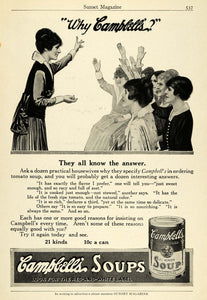 1915 Ad Campbell's Soup Varieties Housewives Domestic Science Red White PM3