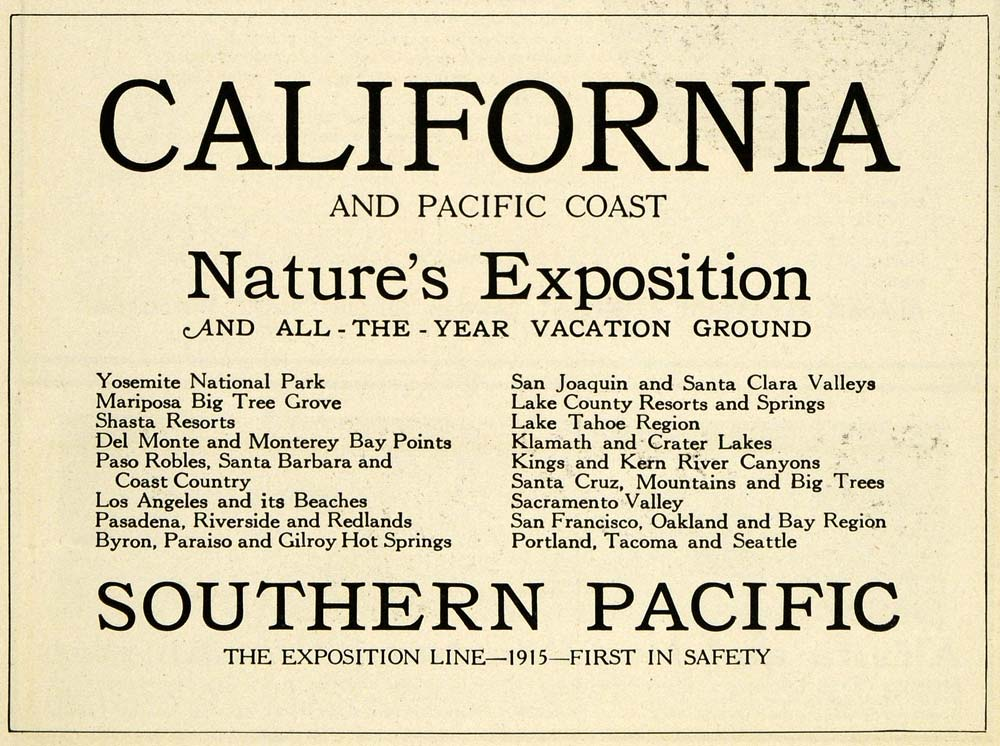 1915 Ad California Nature Exposition Southern Pacific Coast U. S. National PM3
