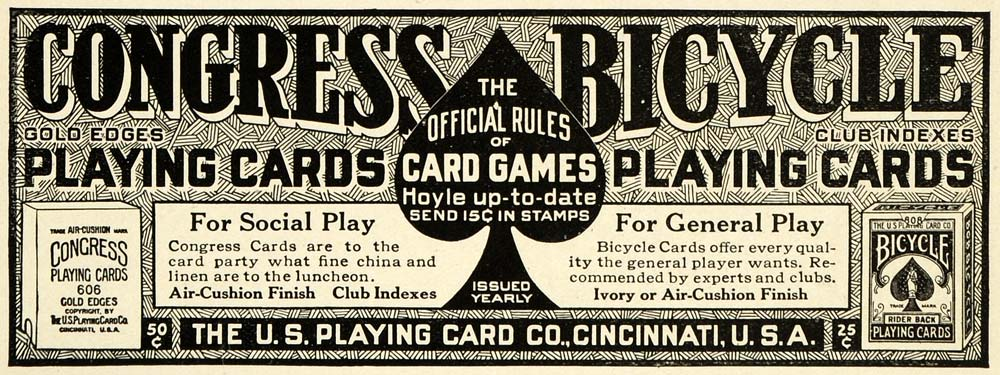 1915 Ad Congress U. S. Bicycle Playing Cards Cincinnati Ohio Poker Card PM3