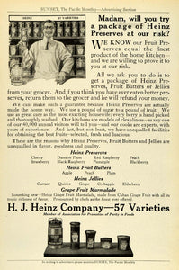1912 Ad H. J. Heinz Fruit Preserves Jelly Butter Varieties Condiments PM3