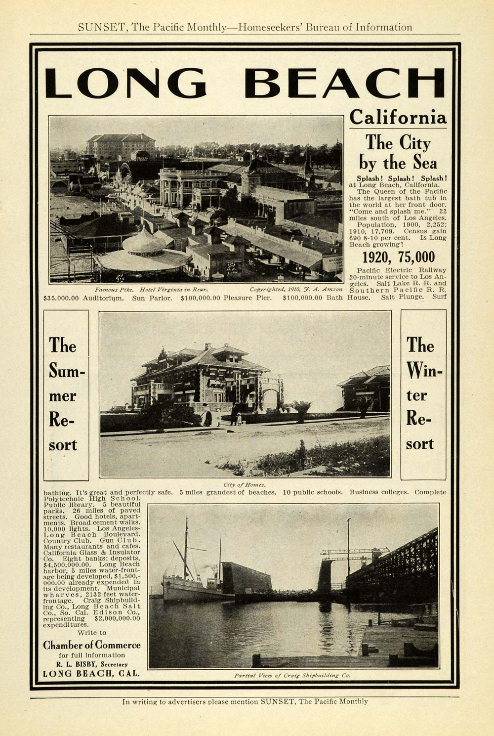 1912 Ad Long Beach California Chamber Commerce Tourism Hotel Virginia PM3