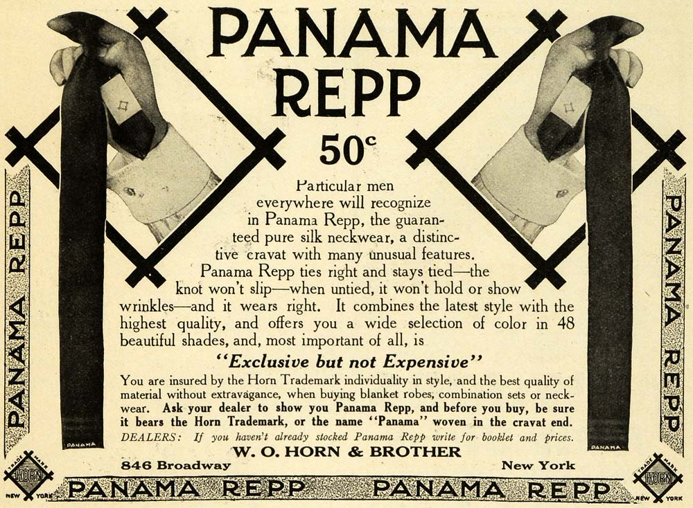 1913 Ad Panama Repp Ties Business Attire Neckware W O Horn Clothing PM3
