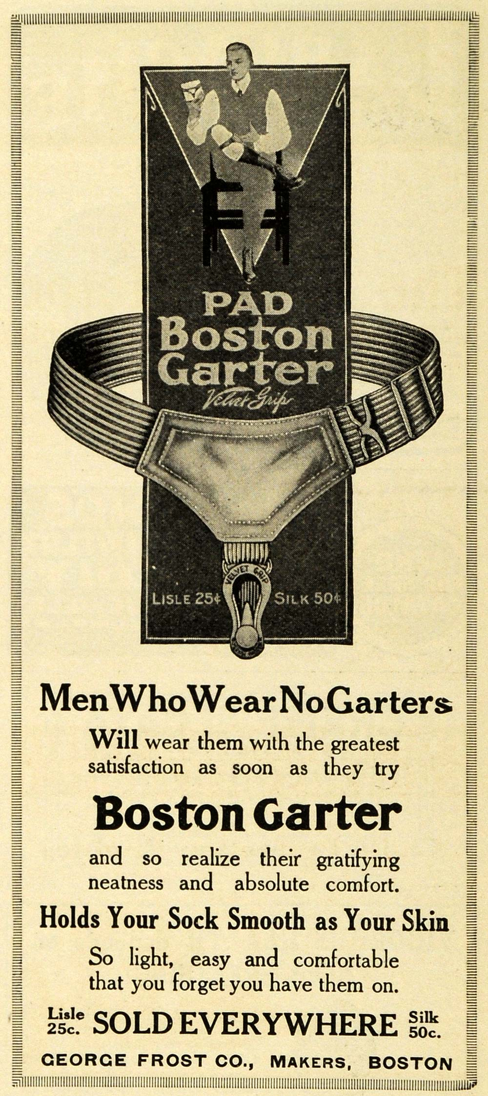 1913 Ad Men's Clothing Accessories Lisle Silk Pad Boston Garter George Frost PM3