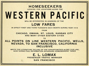 1913 Ad Western Pacific Railway Residential Home Real Estate Tourism E L PM3