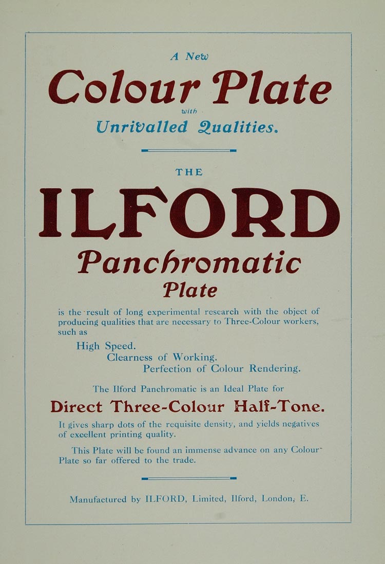1911 Ad Ilford Panchromatic Plate Color Printing London - ORIGINAL PNR1