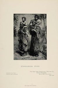 1898 Print Ethnological Portrait Native People Children ORIGINAL HISTORIC PNR3
